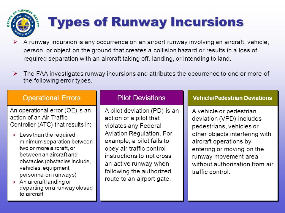 Types of Runway Incursions Pilot Deviations A pilot deviation (PD) is an action of a pilot that violates any Federal Aviation Regulation. For example,