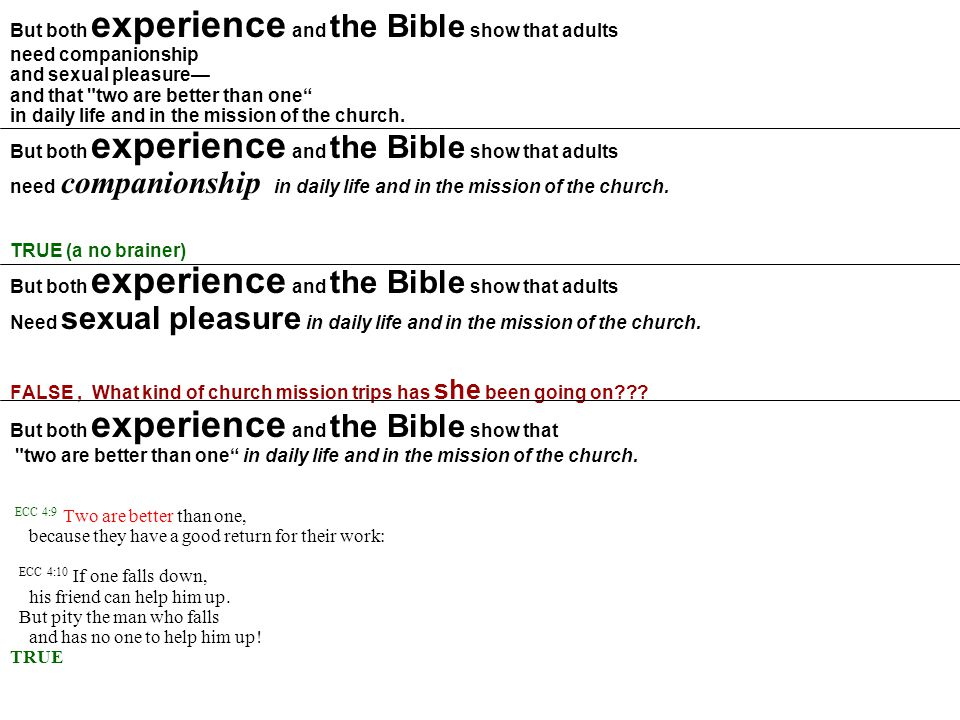 But both experience and the Bible show that adults need companionship and sexual pleasure— and that
