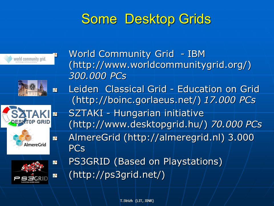 T.Strizh (LIT, JINR) World Community Grid - IBM (http://www.worldcommunitygrid.org/) 300.000 PCs Leiden Classical Grid - Education on Grid (http://boinc.gorlaeus.net/) 17.000 PCs SZTAKI - Hungarian initiative (http://www.desktopgrid.hu/) 70.000 PCs AlmereGrid (http://almeregrid.nl) 3.000 PCs PS3GRID (Based on Playstations) (http://ps3grid.net/) Some Desktop Grids