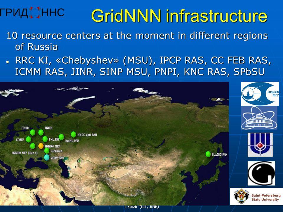 T.Strizh (LIT, JINR) 41 GridNNN infrastructure 10 resource centers at the moment in different regions of Russia RRC KI, «Chebyshev» (MSU), IPCP RAS, CC FEB RAS, ICMM RAS, JINR, SINP MSU, PNPI, KNC RAS, SPbSU RRC KI, «Chebyshev» (MSU), IPCP RAS, CC FEB RAS, ICMM RAS, JINR, SINP MSU, PNPI, KNC RAS, SPbSU