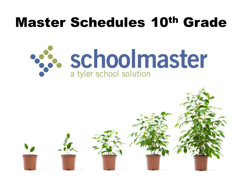 Master Schedules 10 th Grade