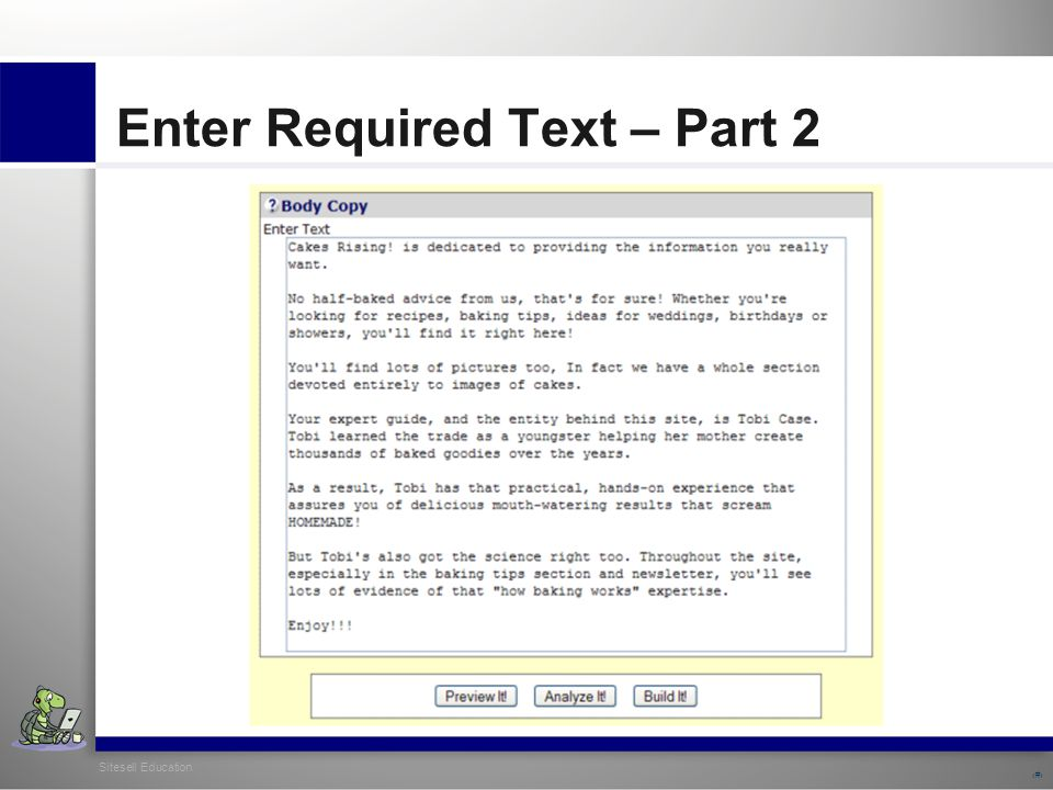 Sitesell Education 11 Enter Required Text – Part 2