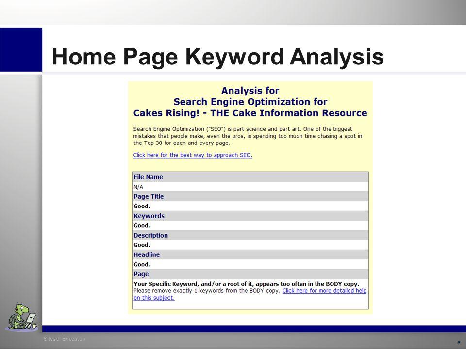 Sitesell Education 13 Home Page Keyword Analysis