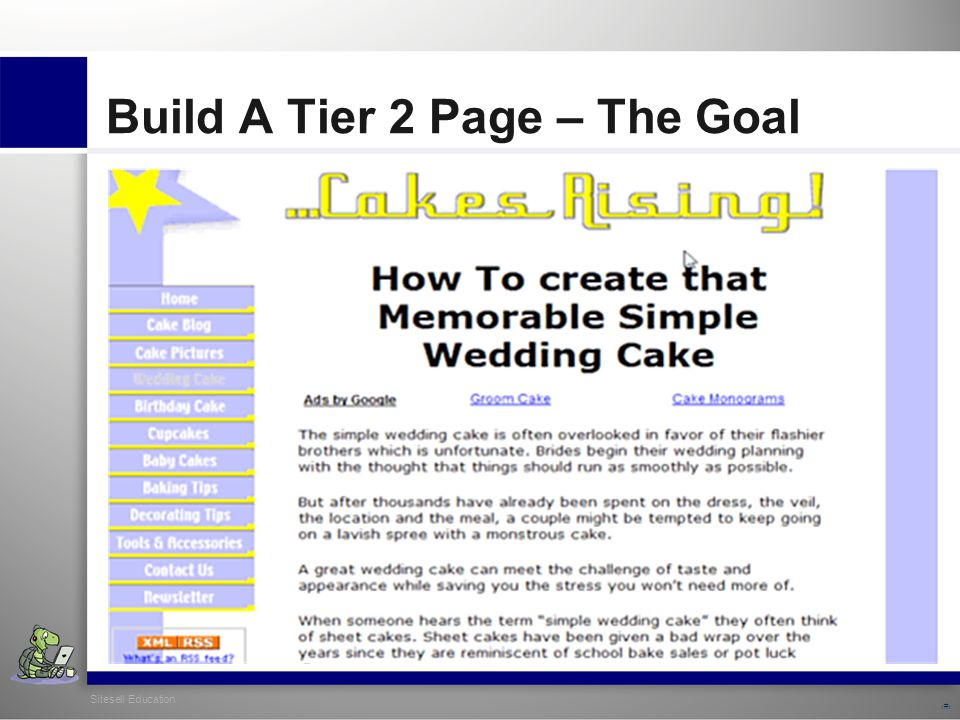 Sitesell Education 19 Build A Tier 2 Page – The Goal