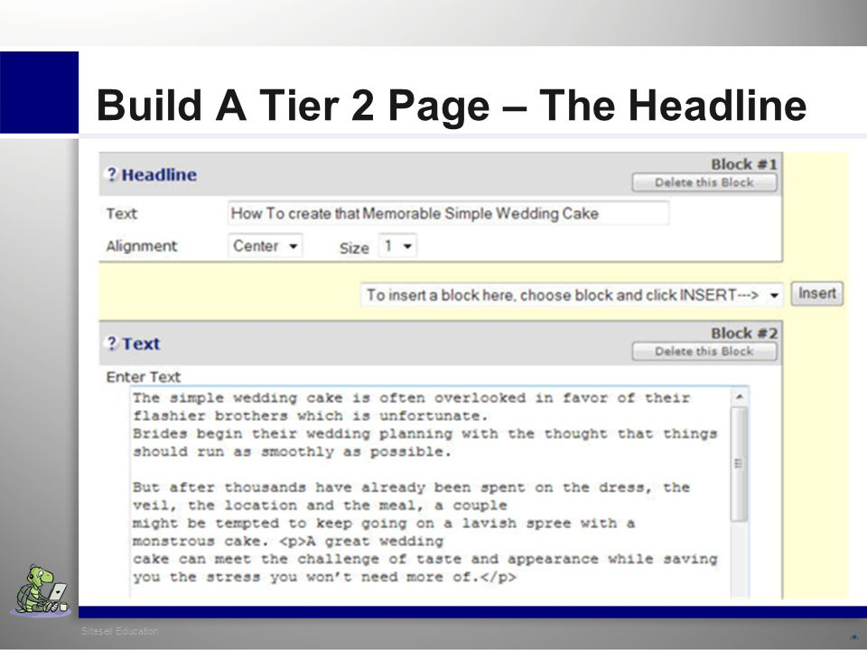 Sitesell Education 22 Build A Tier 2 Page – The Headline