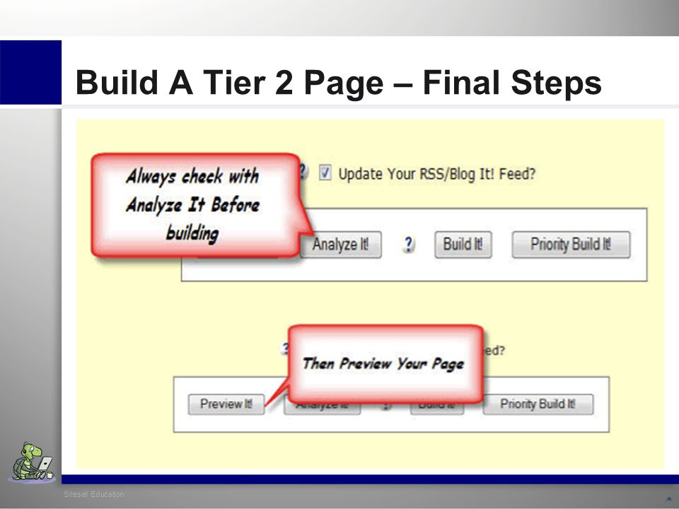Sitesell Education 25 Build A Tier 2 Page – Final Steps