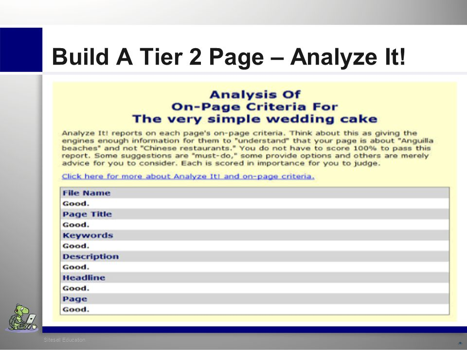 Sitesell Education 26 Build A Tier 2 Page – Analyze It!
