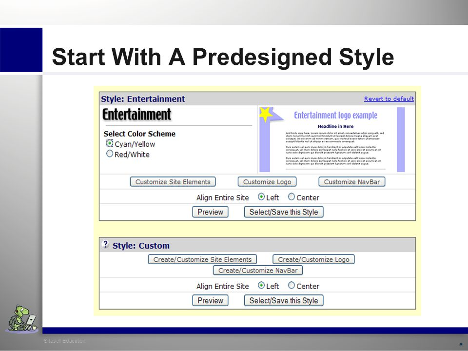 Sitesell Education 6 Start With A Predesigned Style