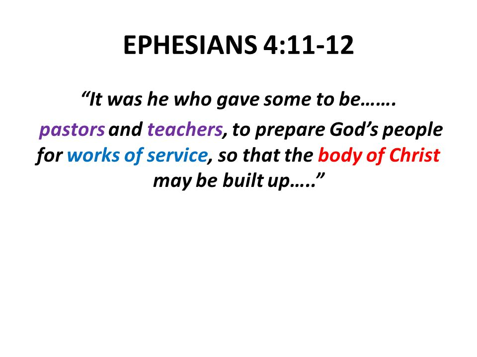 EPHESIANS 4:11-12 It was he who gave some to be…….
