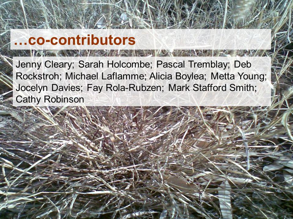 Jenny Cleary; Sarah Holcombe; Pascal Tremblay; Deb Rockstroh; Michael Laflamme; Alicia Boylea; Metta Young; Jocelyn Davies; Fay Rola-Rubzen; Mark Stafford Smith; Cathy Robinson …co-contributors