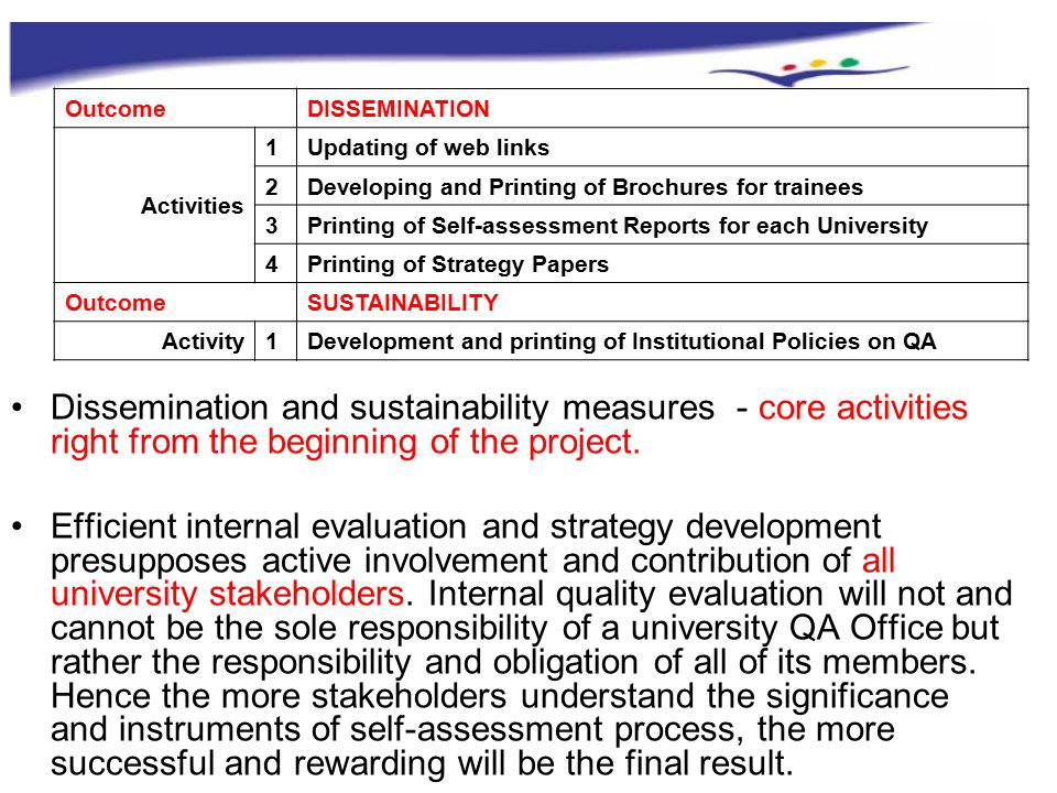 OutcomeDISSEMINATION Activities 1Updating of web links 2Developing and Printing of Brochures for trainees 3Printing of Self-assessment Reports for each University 4Printing of Strategy Papers OutcomeSUSTAINABILITY Activity1Development and printing of Institutional Policies on QA Dissemination and sustainability measures - core activities right from the beginning of the project.