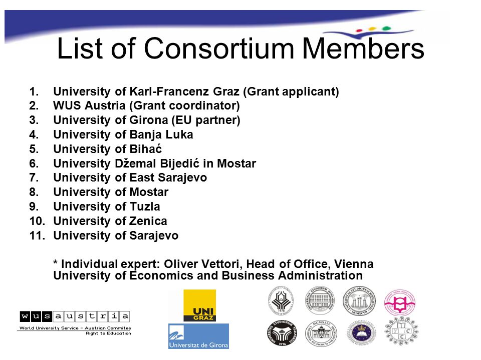 List of Consortium Members 1.University of Karl-Francenz Graz (Grant applicant) 2.WUS Austria (Grant coordinator) 3.University of Girona (EU partner) 4.University of Banja Luka 5.University of Bihać 6.University Džemal Bijedić in Mostar 7.University of East Sarajevo 8.University of Mostar 9.University of Tuzla 10.University of Zenica 11.University of Sarajevo * Individual expert: Oliver Vettori, Head of Office, Vienna University of Economics and Business Administration