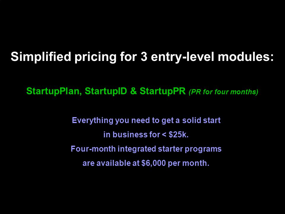 Simplified pricing for 3 entry-level modules: StartupPlan, StartupID & StartupPR (PR for four months) Everything you need to get a solid start in business for < $25k.