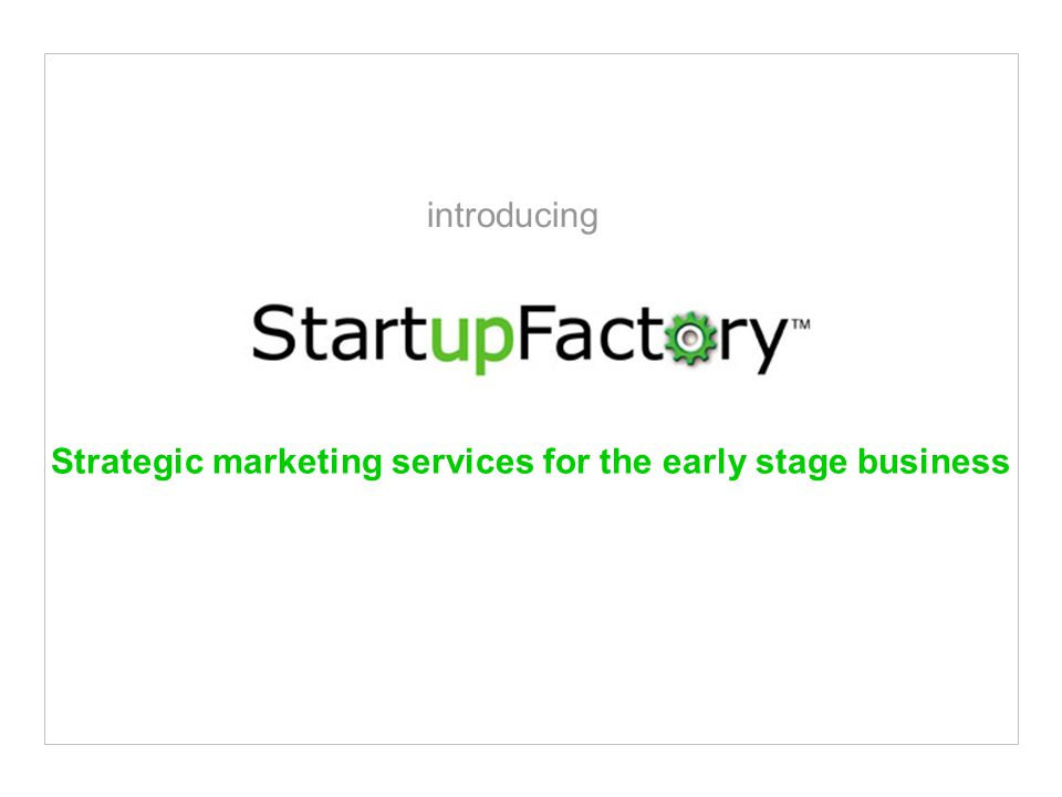 Strategic marketing services for the early stage business introducing