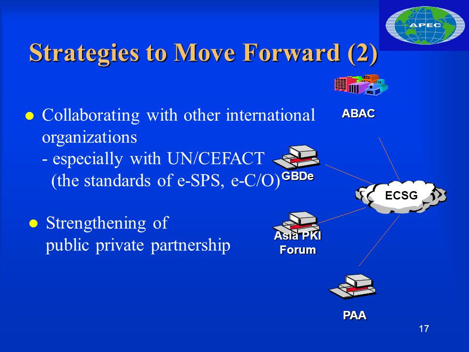 17 ECSG GBDe ABAC Asia PKI Forum PAA Strategies to Move Forward (2) l Collaborating with other international organizations - especially with UN/CEFACT (the standards of e-SPS, e-C/O) Strengthening of public private partnership
