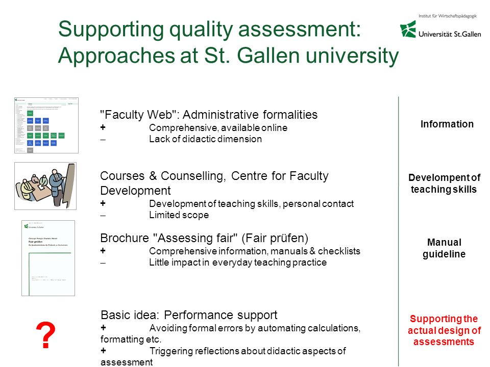 Supporting quality assessment: Approaches at St.
