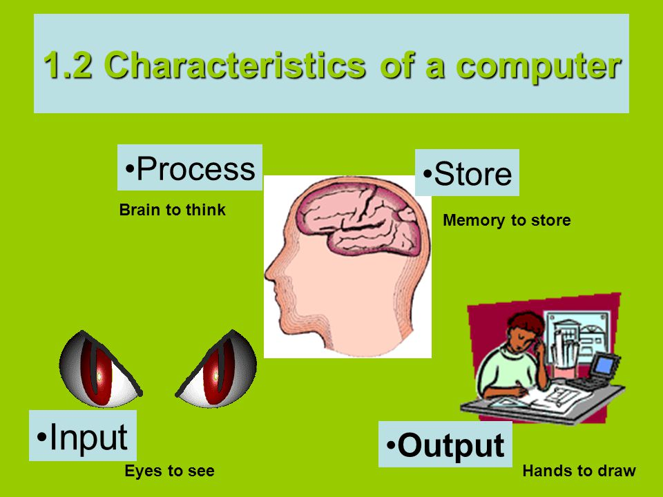 Brain to think Memory to store Eyes to seeHands to draw 1.2 Characteristics of a computer Process Output Store Input