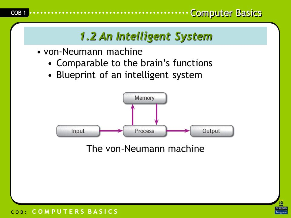 Computer Basics C O B : C O M P U T E R S B A S I C S COB 1 1.2 An Intelligent System von-Neumann machine Comparable to the brain's functions Blueprint of an intelligent system