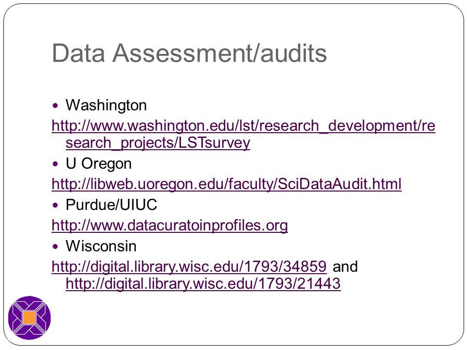 Data Assessment/audits Washington http://www.washington.edu/lst/research_development/re search_projects/LSTsurvey U Oregon http://libweb.uoregon.edu/faculty/SciDataAudit.html Purdue/UIUC http://www.datacuratoinprofiles.org Wisconsin http://digital.library.wisc.edu/1793/34859http://digital.library.wisc.edu/1793/34859 and http://digital.library.wisc.edu/1793/21443 http://digital.library.wisc.edu/1793/21443
