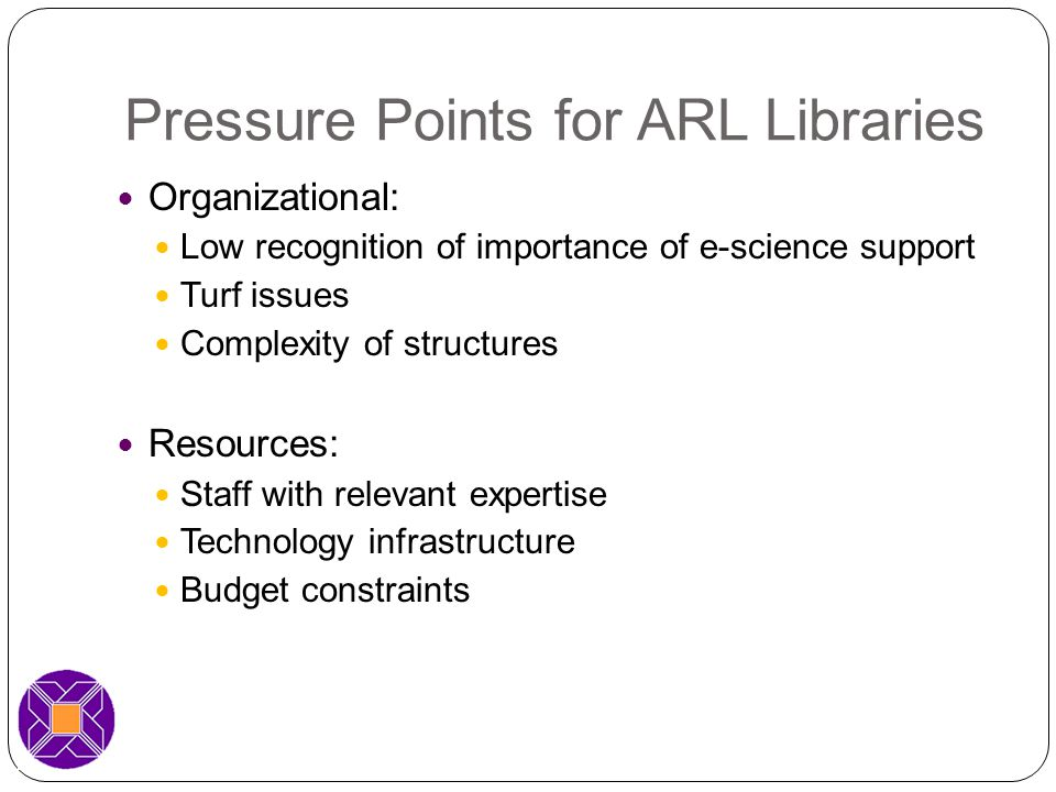 Pressure Points for ARL Libraries Organizational: Low recognition of importance of e-science support Turf issues Complexity of structures Resources: Staff with relevant expertise Technology infrastructure Budget constraints