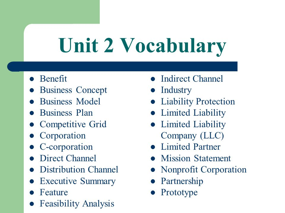 Parts of the Business Plan D.