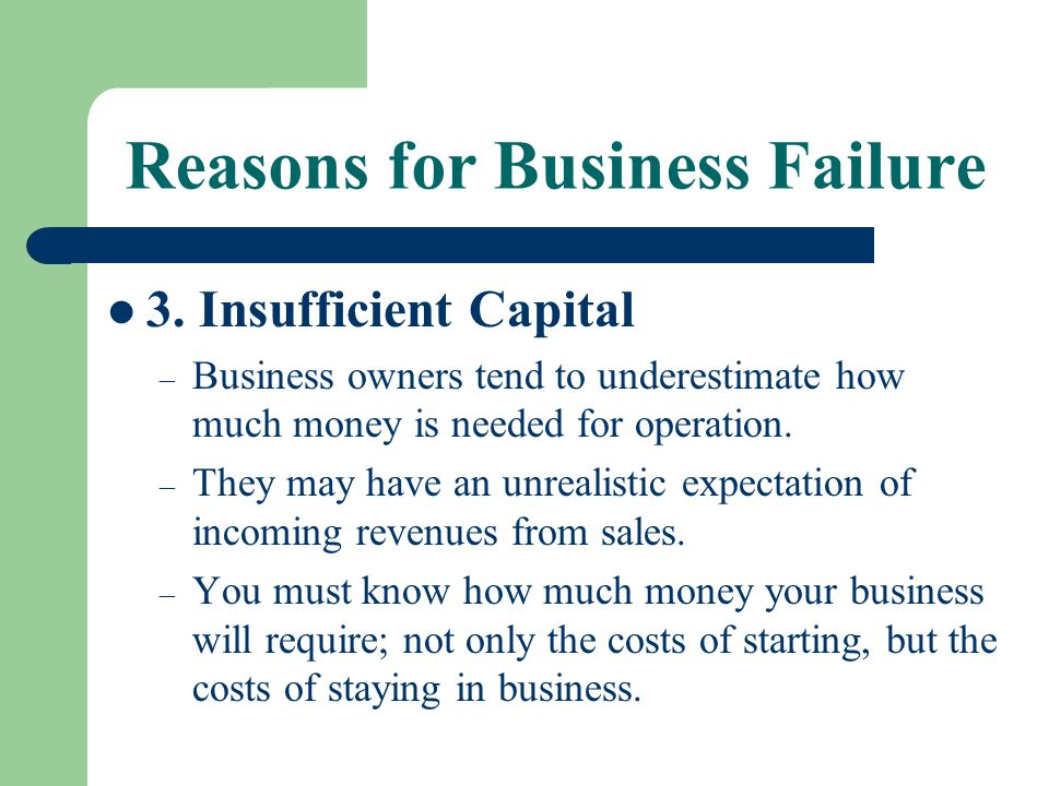 Reasons for Business Failure 3. Insufficient Capital – Business owners tend to underestimate how much money is needed for operation. – They may have a