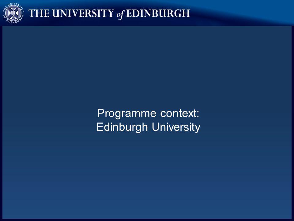 Programme context: Edinburgh University