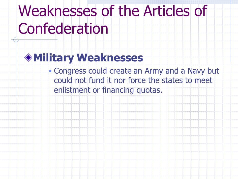 Weaknesses of the Articles of Confederation Military Weaknesses  Congress could create an Army and a Navy but could not fund it nor force the states to meet enlistment or financing quotas.