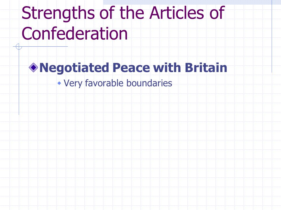 Strengths of the Articles of Confederation Negotiated Peace with Britain  Very favorable boundaries