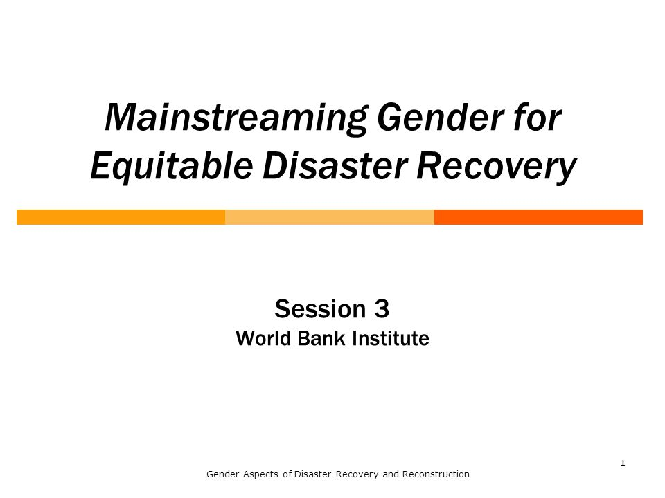 11 Mainstreaming Gender for Equitable Disaster Recovery Session 3 World Bank Institute Gender Aspects of Disaster Recovery and Reconstruction