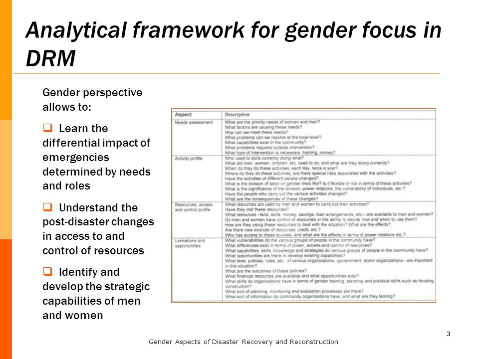 33 Analytical framework for gender focus in DRM Gender perspective allows to:  Learn the differential impact of emergencies determined by needs and r