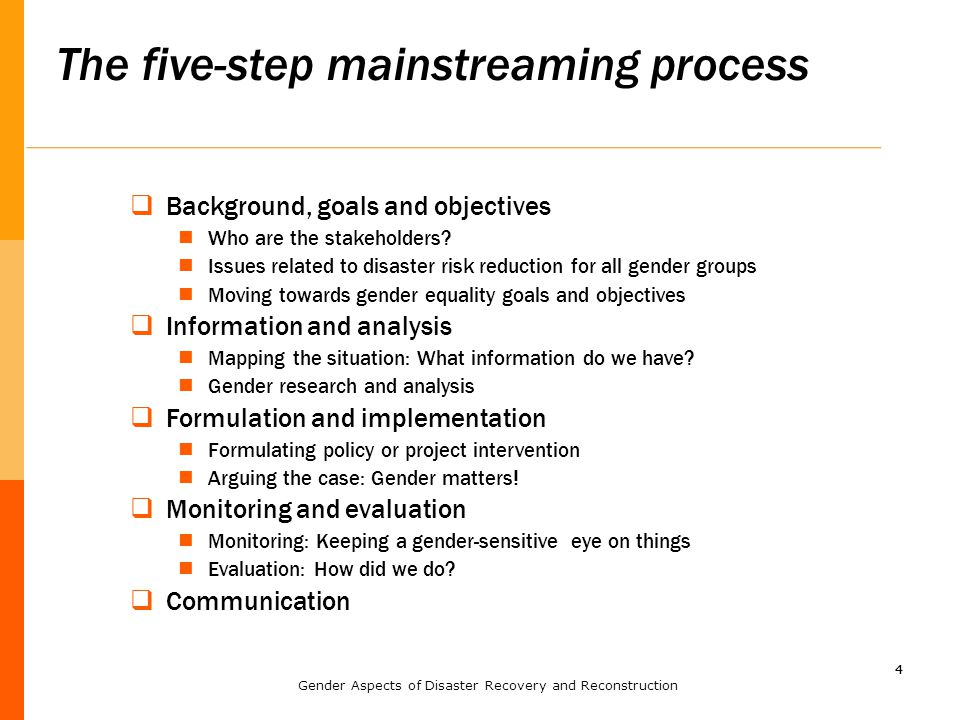 44 The five-step mainstreaming process  Background, goals and objectives Who are the stakeholders.