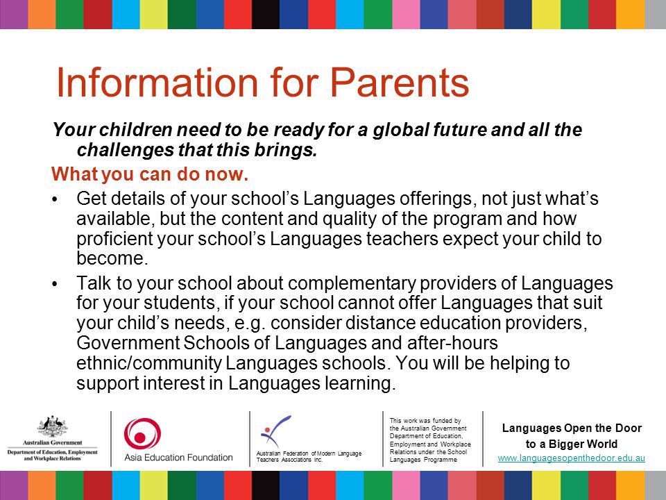 Australian Federation of Modern Language Teachers Associations Inc. This work was funded by the Australian Government Department of Education, Employm