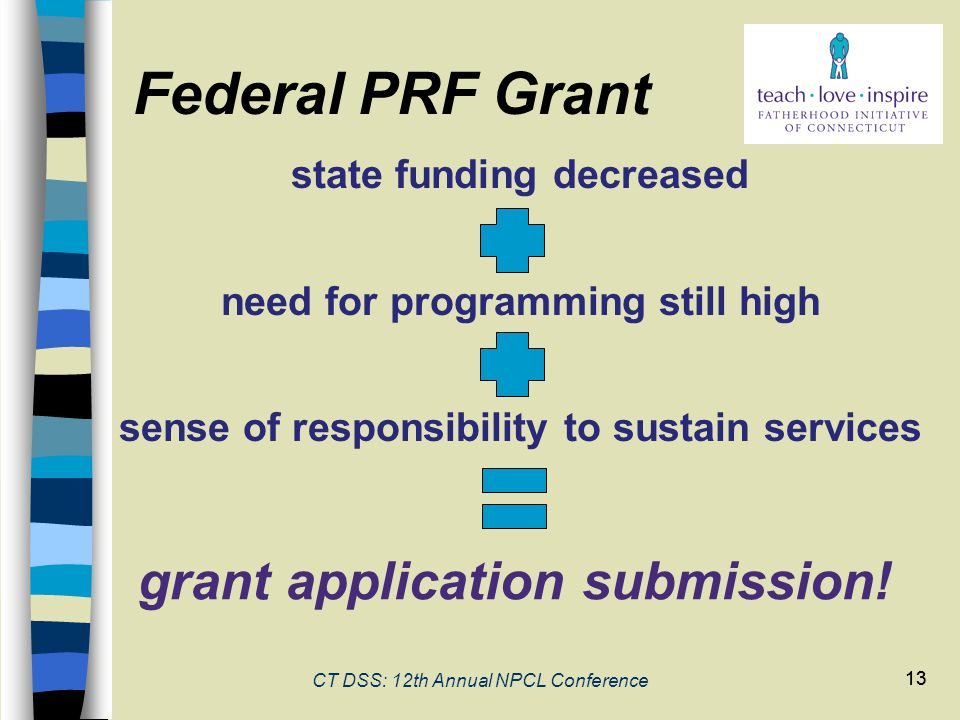 13 CT DSS: 12th Annual NPCL Conference 13 Federal PRF Grant state funding decreased need for programming still high sense of responsibility to sustain services grant application submission!