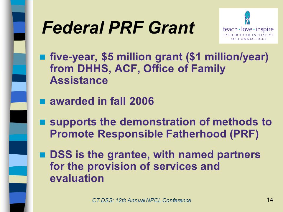 14 CT DSS: 12th Annual NPCL Conference 14 five-year, $5 million grant ($1 million/year) from DHHS, ACF, Office of Family Assistance awarded in fall 2006 supports the demonstration of methods to Promote Responsible Fatherhood (PRF) DSS is the grantee, with named partners for the provision of services and evaluation Federal PRF Grant