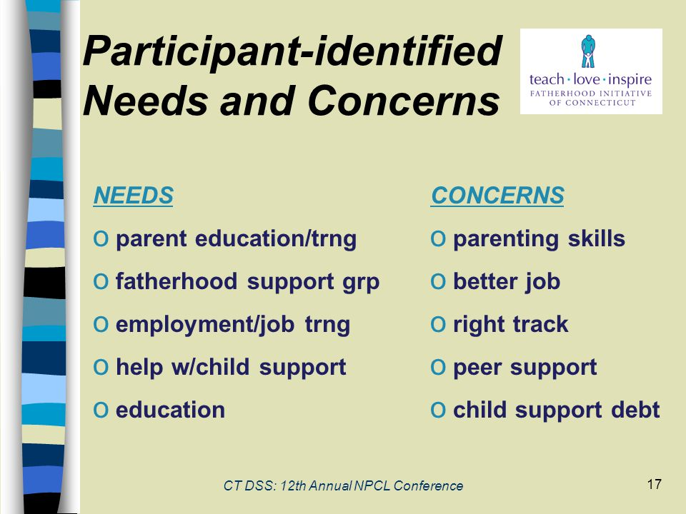 17 Participant-identified Needs and Concerns NEEDS o parent education/trng o fatherhood support grp o employment/job trng o help w/child support o education CONCERNS o parenting skills o better job o right track o peer support o child support debt CT DSS: 12th Annual NPCL Conference