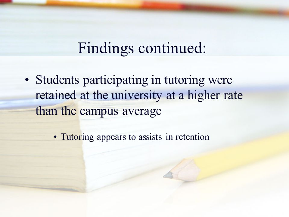 Findings continued: Students participating in tutoring were retained at the university at a higher rate than the campus average Tutoring appears to as
