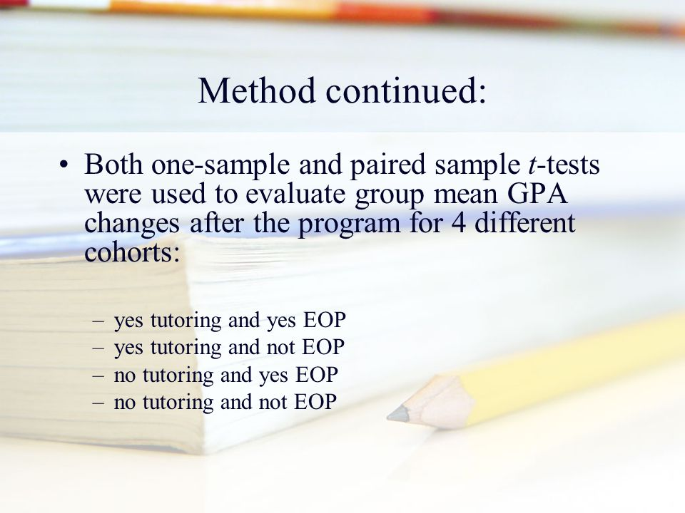 Method continued: Both one-sample and paired sample t-tests were used to evaluate group mean GPA changes after the program for 4 different cohorts: –y