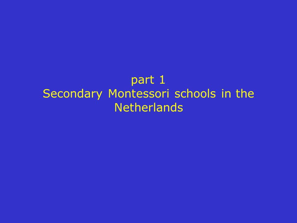 part 1 Secondary Montessori schools in the Netherlands