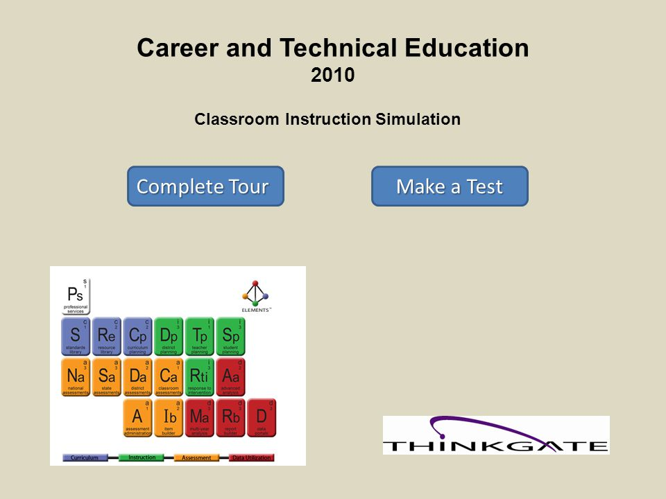 Career and Technical Education 2010 Classroom Instruction Simulation Complete Tour Complete Tour Make a Test Make a Test