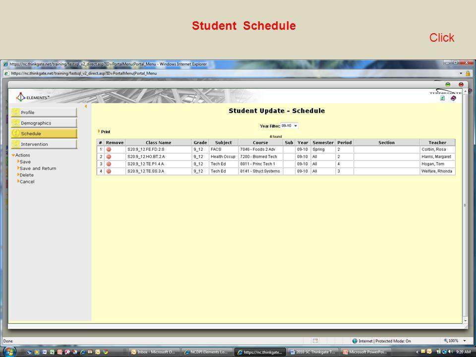 Student Schedule Click