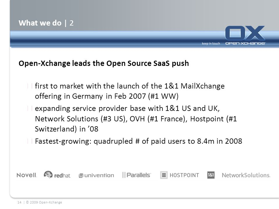 What we do | 2 Open-Xchange leads the Open Source SaaS push  first to market with the launch of the 1&1 MailXchange offering in Germany in Feb 2007 (