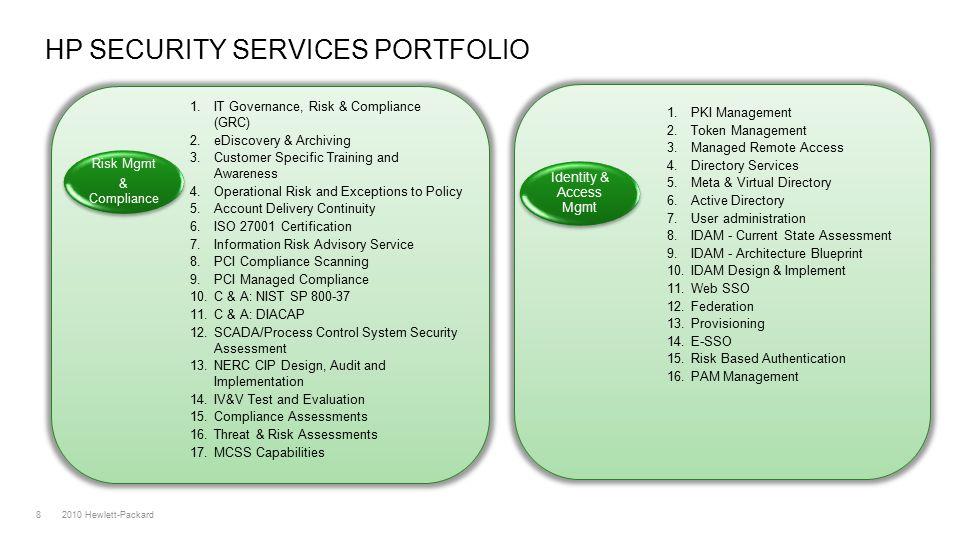 2010 Hewlett-Packard8 HP SECURITY SERVICES PORTFOLIO 1.
