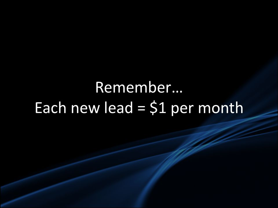 Remember… Each new lead = $1 per month