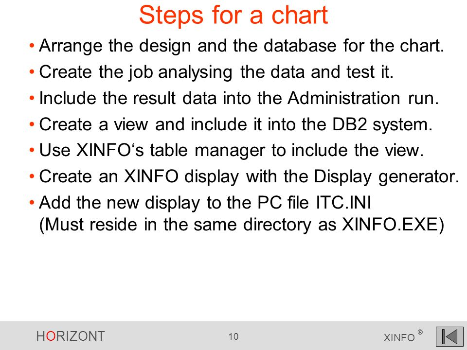 HORIZONT 10 XINFO ® Steps for a chart Arrange the design and the database for the chart.