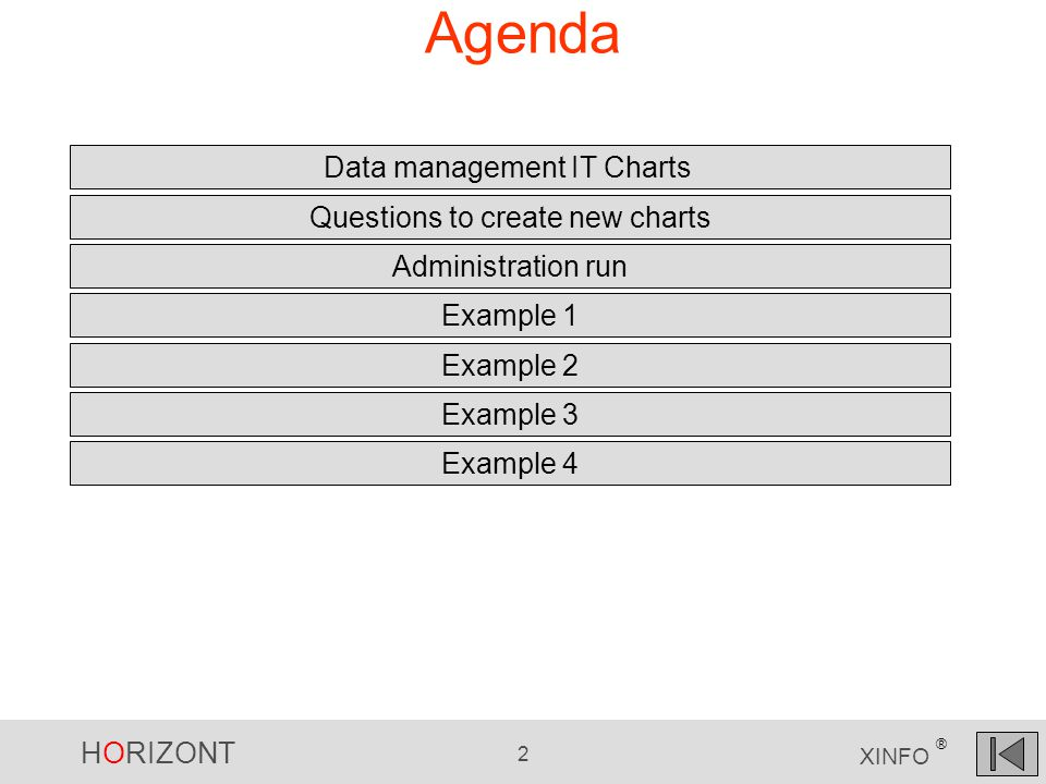 HORIZONT 2 XINFO ® Agenda Data management IT Charts Example 1 Example 2 Questions to create new charts Administration run Example 3 Example 4