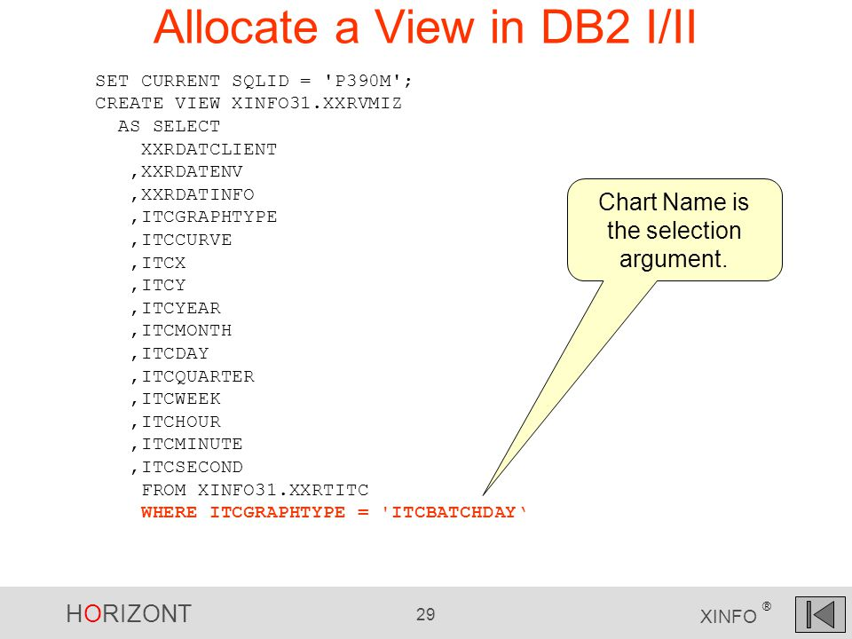 HORIZONT 29 XINFO ® Allocate a View in DB2 I/II SET CURRENT SQLID = P390M ; CREATE VIEW XINFO31.XXRVMIZ AS SELECT XXRDATCLIENT,XXRDATENV,XXRDATINFO,ITCGRAPHTYPE,ITCCURVE,ITCX,ITCY,ITCYEAR,ITCMONTH,ITCDAY,ITCQUARTER,ITCWEEK,ITCHOUR,ITCMINUTE,ITCSECOND FROM XINFO31.XXRTITC WHERE ITCGRAPHTYPE = ITCBATCHDAY' Chart Name is the selection argument.