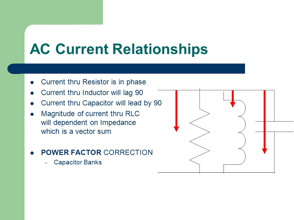 2 More Electrical Terms Inductance (Coil, transformer) Capacitance (Capacitor) Factors present in an AC circuit because the current is operating at 60 HZ, frequency dependant.