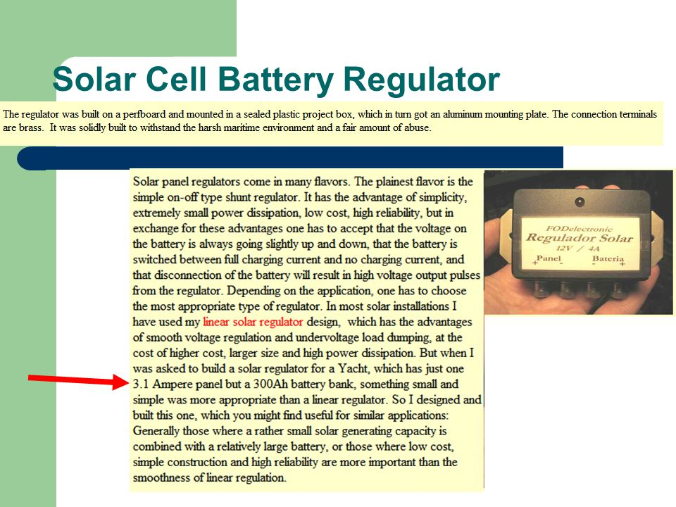 Solar Cell Battery Regulator