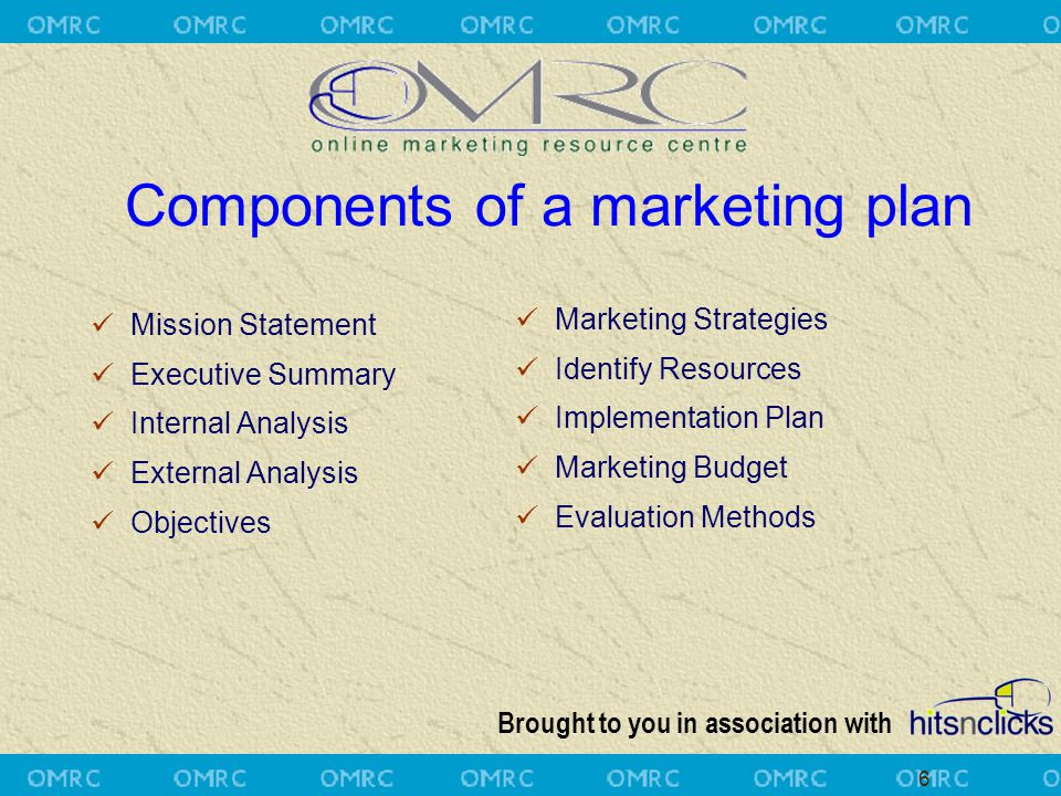 Brought to you in association with 6 Components of a marketing plan Mission Statement Executive Summary Internal Analysis External Analysis Objectives